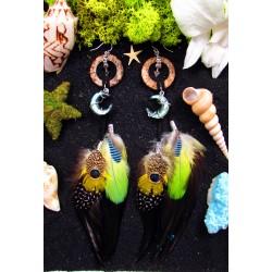 """Boucles d'oreilles plumes et lune en abalone """"Moon of love"""""""