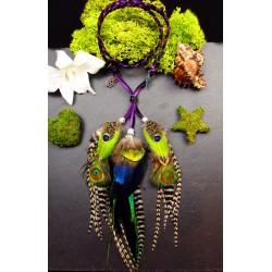 "Headband plumes naturelles totem du paon et son abalone ""Mystic love"""