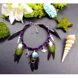 """Bracelet de cheville ethnique plumes avec cyanite et chauve-souris """"Wise light"""""""
