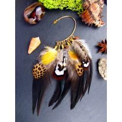 """Ear cuff plumes naturelles et pierre du soleil """"Sauvageonne"""""""