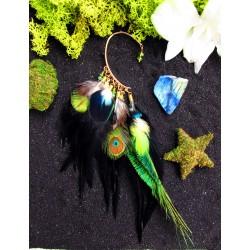 "Ear cuff plumes naturelles de paon et peridot ""Beauty of forest"""