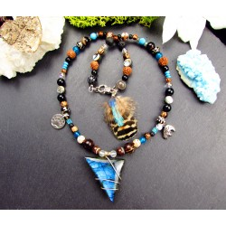"Collier ethnique plumes et labradorite ""Native bear"""