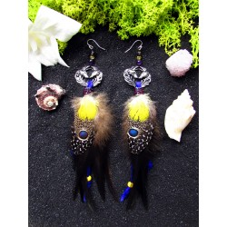 """Boucles d'oreilles ethniques plumes renard """"Magic fox"""""""