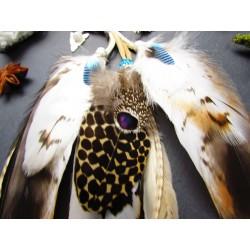 "Headband plumes naturelles totem de la buse ""Wise spirit"""