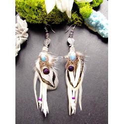 """Boucles d'oreilles plumes et ailes d'ange """"Le paradis blanc"""""""