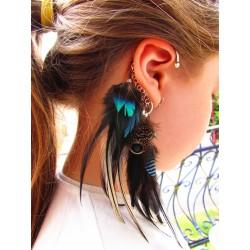 "Ear cuff plumes naturelles totem hippocampe ""Bulles d'amour"""