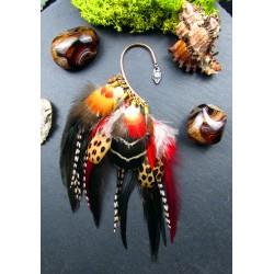 """Ear cuff plumes naturelles, opale et pierre du soleil """"Love energy"""""""