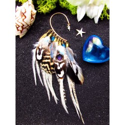"Ear cuff plumes naturelles totem hippocampe ""Gold waves"""
