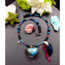 "Ethnic Labradorite heart necklace feathers ""A rose in the ocean"""