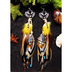 "oucles d'oreilles ethniques plumes renard ""Golden desert"""