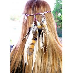 """Headband plumes naturelles totem chouette et pierre de lune """"Au-delà du réel"""""""