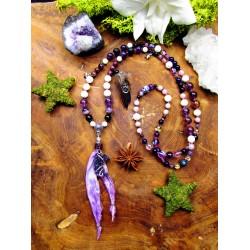 """Mala 108 perles chamanique améthyste et plumes """"Purple moon"""""""