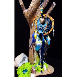"Attrape rêves artisanal 3D bois dent de requin et aqua aura quartz ""The sea of hope"""