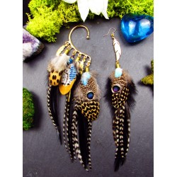 """Boucle d'oreille + ear cuff plumes """"Panthera strength"""""""