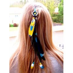 """Bijou de cheveux plumes naturelles perroquet, baleine et labradorite """"Sky of love"""""""
