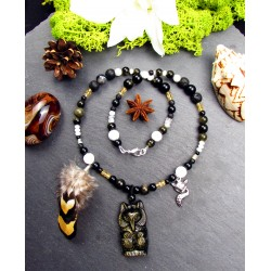 "Ethnic feather collar fox totem feathers and golden obsidian ""Under my protection"""