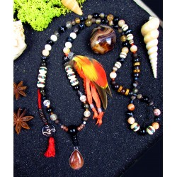 """Mala 108 perles chamanique avec plumes et pierre du soleil """"Fire of life"""""""