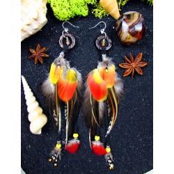 """Boucles d'oreilles ethniques plumes de perroquet """"Luminous"""""""