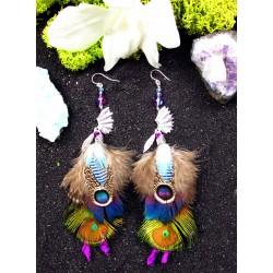 """oucles d'oreilles ethniques amérindiennes plumes """"Waste lake"""""""