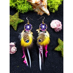"Boucles d'oreilles attrape rêves avec opale d'Australie ""Love the way you are"""