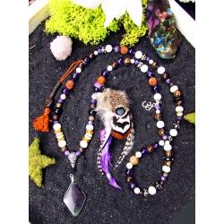 Mala 108 perles chamanique avec plumes obsidienne manta huichol