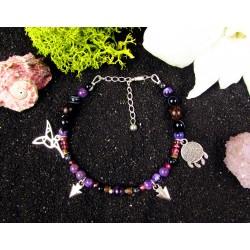 """Bracelet ethnique avec perles en charoite et colibri """"Le colibri charmeur"""""""