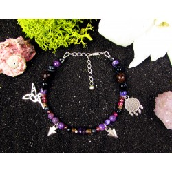 "Ethnic bracelet with charoite beads and hummingbird ""The charming hummingbird"""