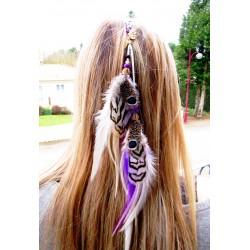 """Bijou de cheveux plumes naturelles amérindien """"Golden shaman"""""""