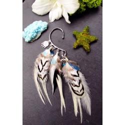 "Ear cuff plumes naturelle et totem baleine ""Frozen song"""