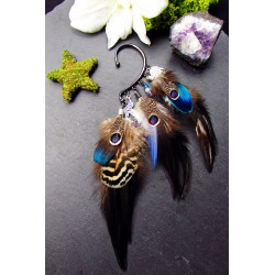 "Ear cuff plumes naturelle et totem colibri ""Kingdom of joy"""