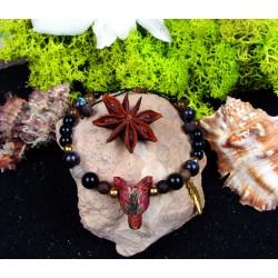 """Bracelet ethnique avec loup en jaspe """"Earth spirit"""""""