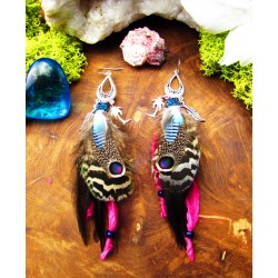 """Sunset beach"" natural feather ethnic feather earrings"