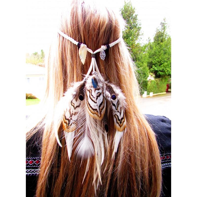 """Headband plumes naturelles avec totem du paon blanc """"Voyage au coeur de l'âme"""""""