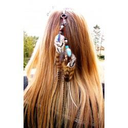"""Bijou de cheveux plumes naturelles amérindien totem hibou """"Wise guardian"""""""
