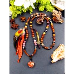 Mala 108 perles chamanique avec plumes et pierre du soleil