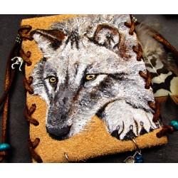 Pochette médecine totem du loup