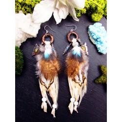 Boucles d'oreilles plumes de chouette et labradorite