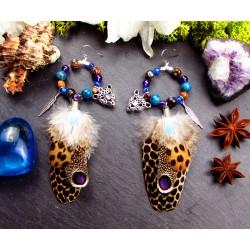 Boucles d'oreilles créoles plumes naturelles totem panthère
