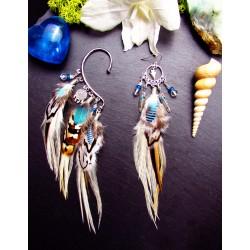 Boucle d'oreille + ear cuff plumes