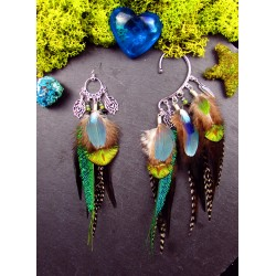 """Boucle d'oreille + ear cuff plumes """"Mystic night"""""""