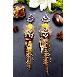"""Boucles d'oreilles ethniques plumes renard """"Wild fox"""""""