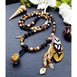 """Mala 108 perles chamanique avec plumes et citrus améthyste cactus """"La guerrière d'or"""""""