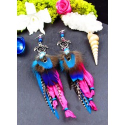 "Turtle and apatite feather earrings ""Waves of love"""
