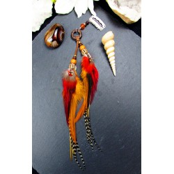 Bijou de cheveux plumes naturelles de perroquet et coq