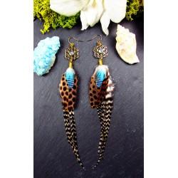 Boucles d'oreilles ethniques plumes et fleur de vie