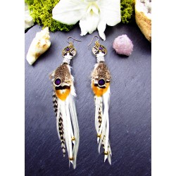 """Boucles d'oreilles ethniques plumes et arbre de vie """"Sacred tree"""""""
