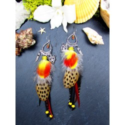 Red long feather ethnic earrings