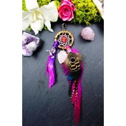 "Pendentif attrape rêves plumes quartz rose et bismuth"""