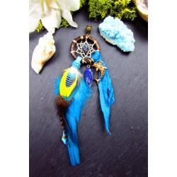 Pendentif attrape rêves plumes lapis lazuli et chalcopyrite