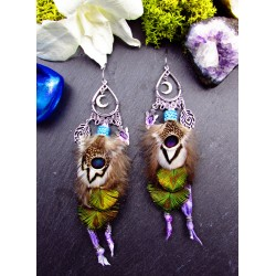 Ethnic peacock feather and amethyst earrings